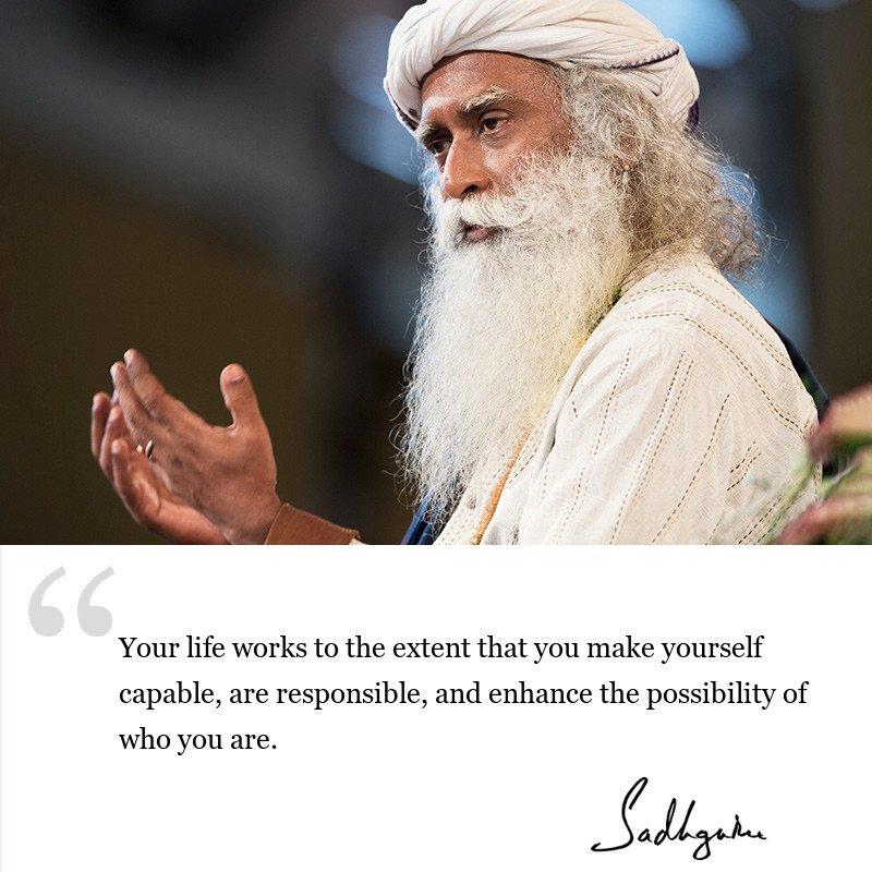 sadhguru quote on be inspired, sadhguru quote on life lessons. sadhguru quote on self awareness.