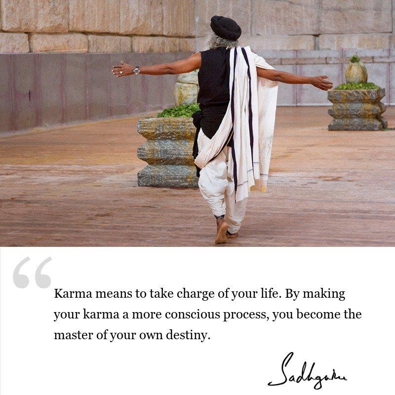 sadhguru quote on karma, sadhguru quote on consciousness, sadhguru quote on self awareness.