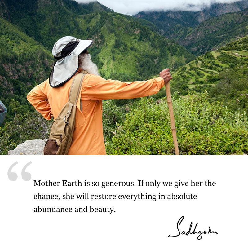 sadhguru quote on be inspired, sadhguru quote on environment.